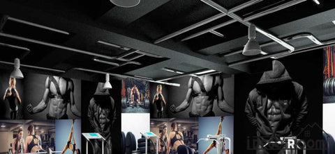 Image of Collage Fitness Woman Doing Excercise Fitness Club Art Wall Murals Wallpaper Decals Prints Decor IDCWP-JB-000987