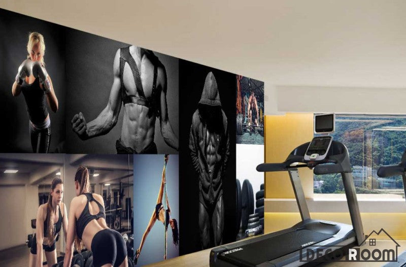 Collage Fitness Woman Doing Excercise Fitness Club Art Wall Murals Wallpaper Decals Prints Decor IDCWP-JB-000987