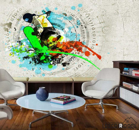 Image of Graphic Design Colorful Skateboarding Living Room Art Wall Murals Wallpaper Decals Prints Decor IDCWP-JB-000992