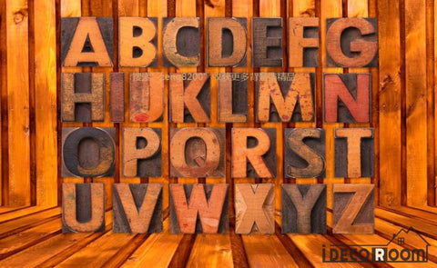 Image of 3D Typographic Letters On Wall Living Room Art Wall Murals Wallpaper Decals Prints Decor IDCWP-JB-000993