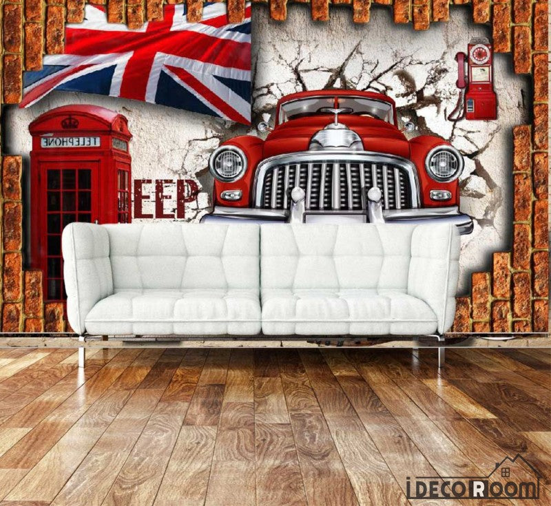 3D Vintage Old Red Car London Flag Cabin Breaking Through Wall Living Room Art