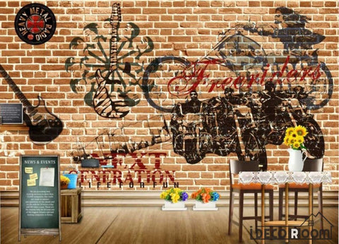 Image of Brick Wall Black Drawing Motorbike Electric Guitar Living Room Restaurant Art Wall Murals Wallpaper Decals Prints Decor IDCWP-JB-000999