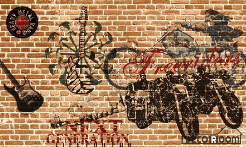 Brick Wall Black Drawing Motorbike Electric Guitar Living Room Restaurant Art Wall Murals Wallpaper Decals Prints Decor IDCWP-JB-000999