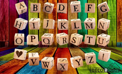 Image of 3D Letter Dice Colorful Wall Restaurant Art Wall Murals Wallpaper Decals Prints Decor IDCWP-JB-001002