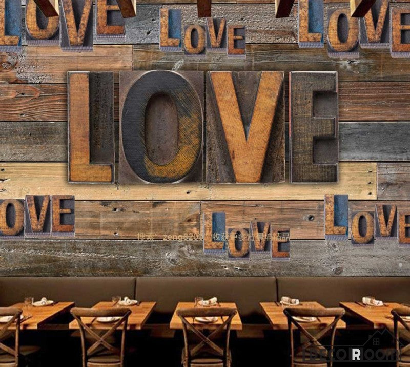 3D Typographic Love Letters On Wooden Wall Restaurant Art Wall Murals Wallpaper Decals Prints Decor IDCWP-JB-001003