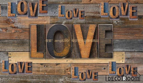 Image of 3D Typographic Love Letters On Wooden Wall Restaurant Art Wall Murals Wallpaper Decals Prints Decor IDCWP-JB-001003