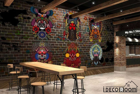 Image of Animal Mandala Colorful Designs Black Wall Restaurant Art Wall Murals Wallpaper Decals Prints Decor IDCWP-JB-001004