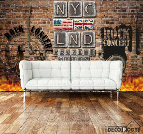 Image of Metal Typographic Lnd Nyc Letters On Wall Living Room Art Wall Murals Wallpaper Decals Prints Decor IDCWP-JB-001005