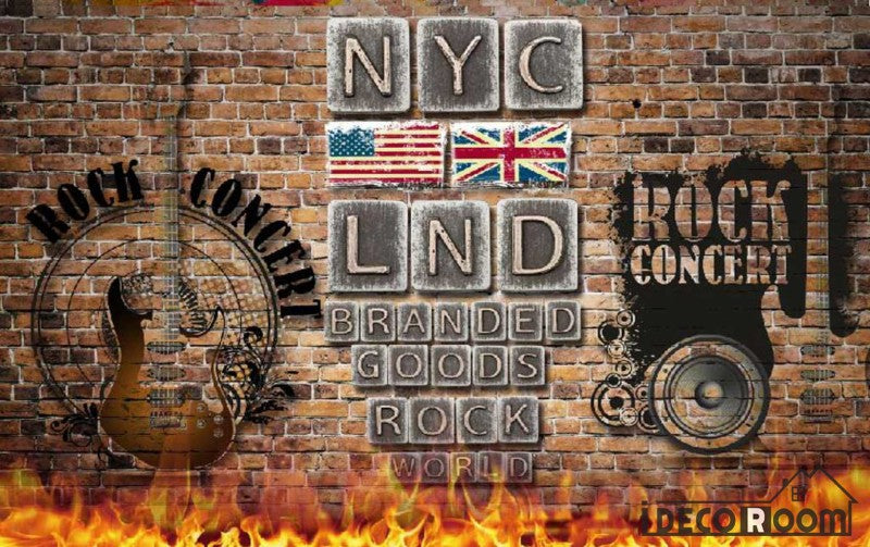 Metal Typographic Lnd Nyc Letters On Wall Living Room Art Wall Murals Wallpaper Decals Prints Decor IDCWP-JB-001005