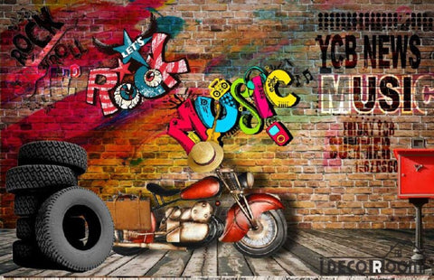 Image of 3D Graffiti Rock Music Living Room Art Wall Murals Wallpaper Decals Prints Decor IDCWP-JB-001006