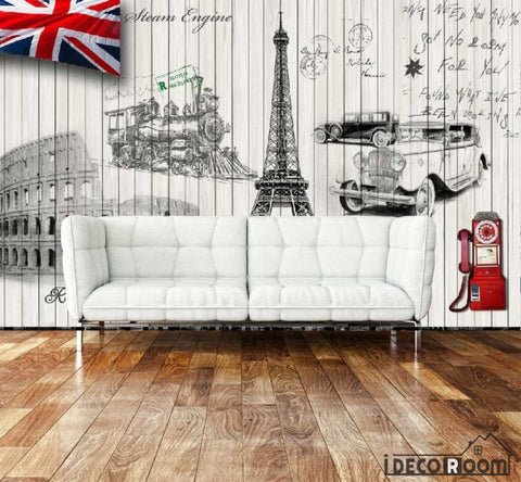 Image of White Wall Paris Rome London Symbols Living Room Art Wall Murals Wallpaper Decals Prints Decor IDCWP-JB-001008
