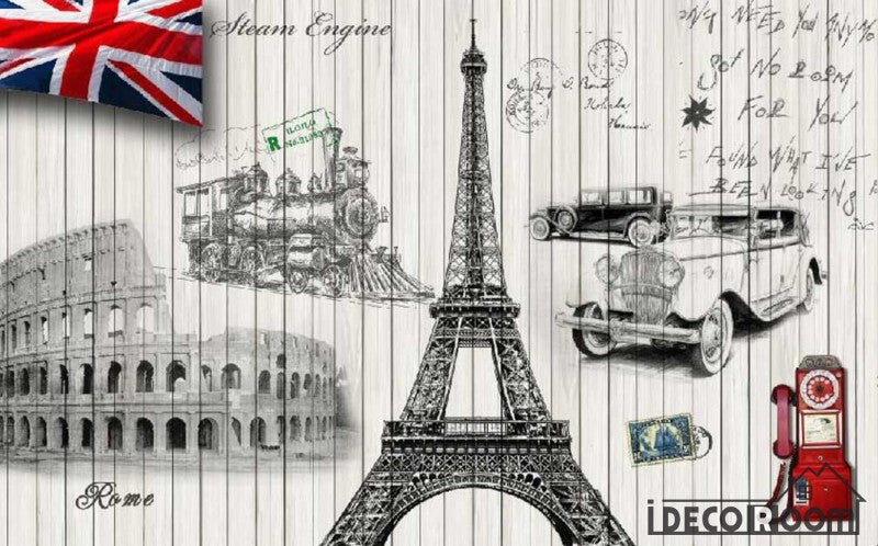 White Wall Paris Rome London Symbols Living Room Art Wall Murals Wallpaper Decals Prints Decor IDCWP-JB-001008