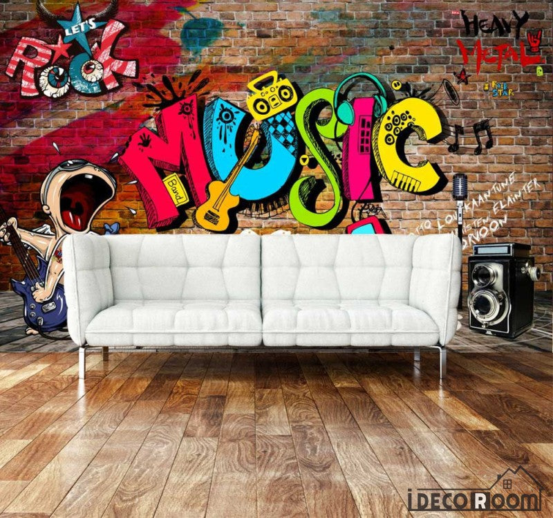 Brick Wall 3D Rock Music Colorful Letters Living Room Art Wall Murals Wallpaper Decals Prints Decor IDCWP-JB-001009