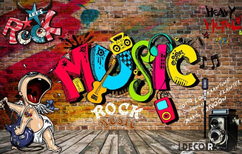 Image of Brick Wall 3D Rock Music Colorful Letters Living Room Art Wall Murals Wallpaper Decals Prints Decor IDCWP-JB-001009