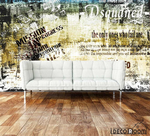 Image of Bricolage Yellow Wall Living Room Art Wall Murals Wallpaper Decals Prints Decor IDCWP-JB-001010