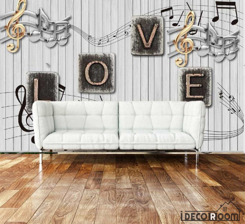 White Wooden Wall Typography Letters Living Room Art Wall Murals Wallpaper Decals Prints Decor IDCWP-JB-001012