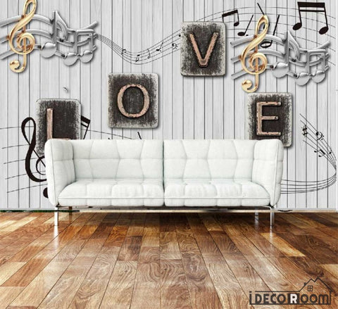 Image of White Wooden Wall Typography Letters Living Room Art Wall Murals Wallpaper Decals Prints Decor IDCWP-JB-001012