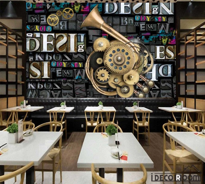 3D Typographic Letters Trompet Gear Restaurant Art Wall Murals Wallpaper Decals Prints Decor IDCWP-JB-001084