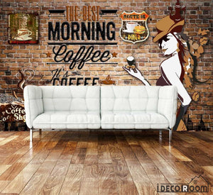 Red Brick Wall Morning Coffee Living Room Art Wall Murals Wallpaper Decals Prints Decor IDCWP-JB-001085