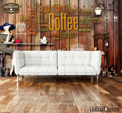 Image of Wooden Wall 3D Coffee Words On Wall Living Room Art Wall Murals Wallpaper Decals Prints Decor IDCWP-JB-001086