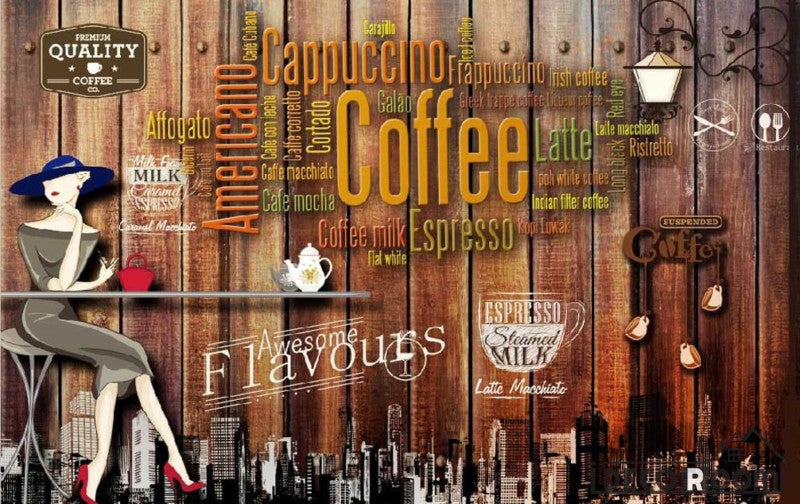Wooden Wall 3D Coffee Words On Wall Living Room Art Wall Murals Wallpaper Decals Prints Decor IDCWP-JB-001086
