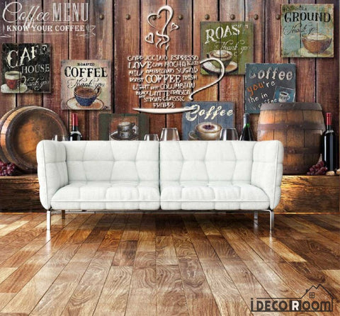 Image of Wooden Wall 3D Coffe Posters Red Wine On Wall Living Room Art Wall Murals Wallpaper Decals Prints Decor IDCWP-JB-001087
