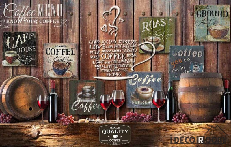 Wooden Wall 3D Coffe Posters Red Wine On Wall Living Room Art Wall Murals Wallpaper Decals Prints Decor IDCWP-JB-001087