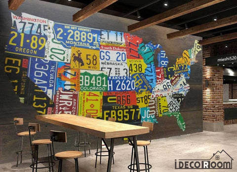 Image of Collage Target Plates Usa Map Restaurant Art Wall Murals Wallpaper Decals Prints Decor IDCWP-JB-001089