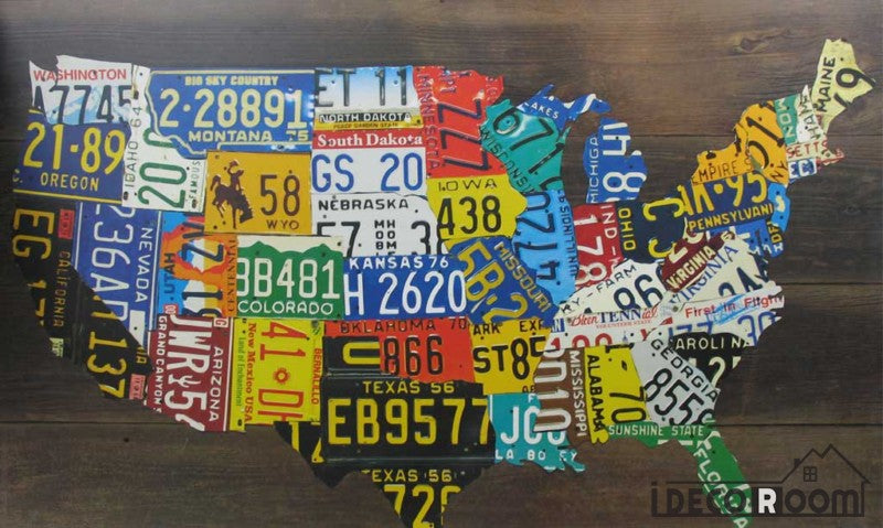 Collage Target Plates Usa Map Restaurant Art Wall Murals Wallpaper Decals Prints Decor IDCWP-JB-001089