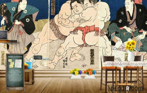 Image of Drawing Old Sumo Wrestlers Poster Restaurant Art Wall Murals Wallpaper Decals Prints Decor IDCWP-JB-001092