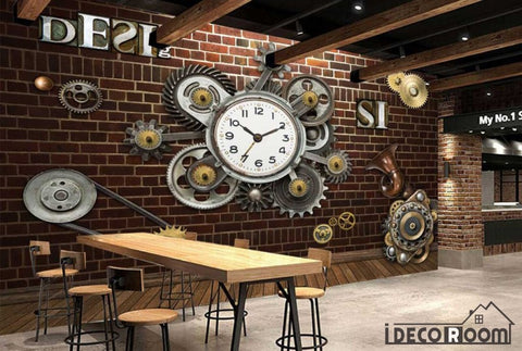 Image of Red Brick Wall 3D Clock Gear Living Room Restaurant Art Wall Murals Wallpaper Decals Prints Decor IDCWP-JB-001095