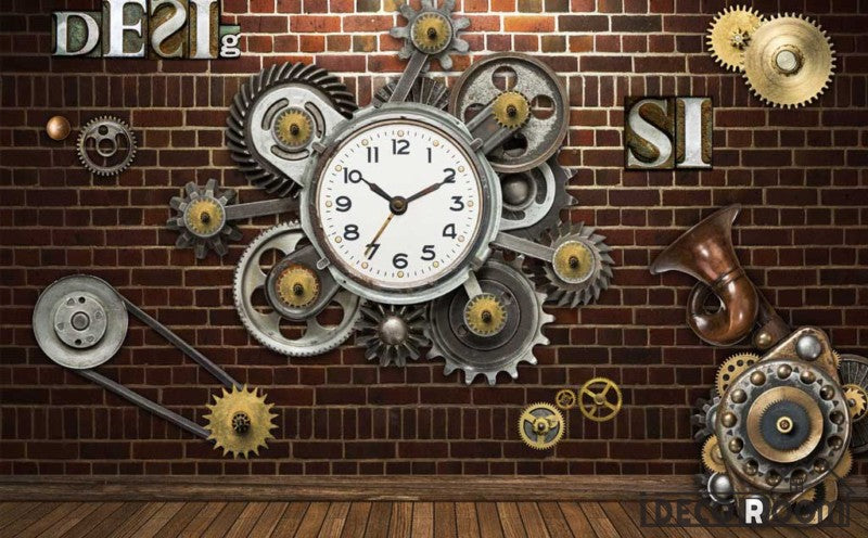 Red Brick Wall 3D Clock Gear Living Room Restaurant Art Wall Murals Wallpaper Decals Prints Decor IDCWP-JB-001095
