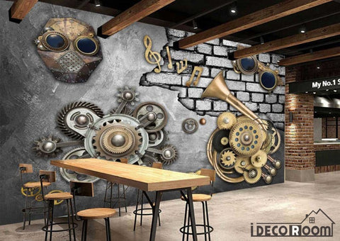 Image of Metal Wall With 3D Trompet Gear Restaurant Art Wall Murals Wallpaper Decals Prints Decor IDCWP-JB-001097