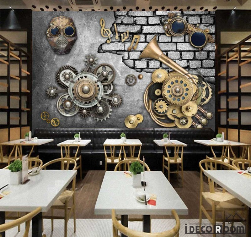 Metal Wall With 3D Trompet Gear Restaurant Art Wall Murals Wallpaper Decals Prints Decor IDCWP-JB-001097