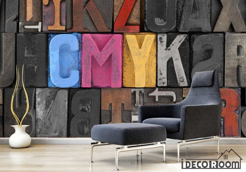 Colorful 3D Typographic Letters Living Room Restaurant Art Wall Murals Wallpaper Decals Prints Decor IDCWP-JB-001098