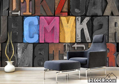 Image of Colorful 3D Typographic Letters Living Room Restaurant Art Wall Murals Wallpaper Decals Prints Decor IDCWP-JB-001098