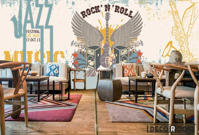 Graphic design rock and roll jazz drawing electric guitar for Jazz living room ideas