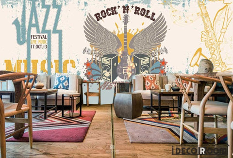 Image of Graphic Design Rock And Roll Jazz Drawing Electric Guitar Wings Living Room Restaurant Art Wall Murals Wallpaper Decals Prints Decor IDCWP-JB-001100