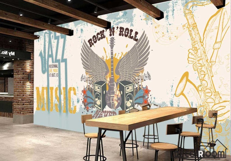 Graphic Design Rock And Roll Jazz Drawing Electric Guitar Wings Living Room Restaurant Art Wall Murals Wallpaper Decals Prints Decor IDCWP-JB-001100