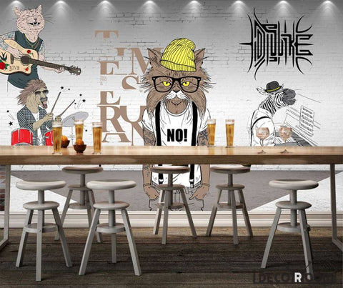 Image of White Brick Wall 3D Hipster Animals Playing Instruments Living Room Restaurant Art Wall Murals Wallpaper Decals Prints Decor IDCWP-JB-001101