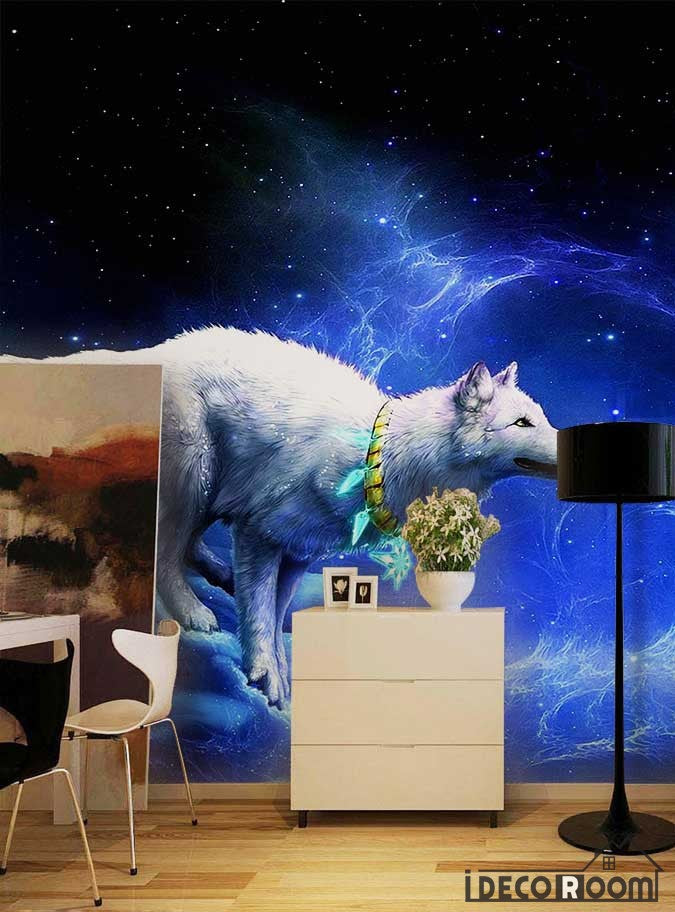 Graphic Design Blue Space 3D White Wolf Moon Living Room Art Wall Murals Wallpaper Decals Prints Decor IDCWP-JB-001102