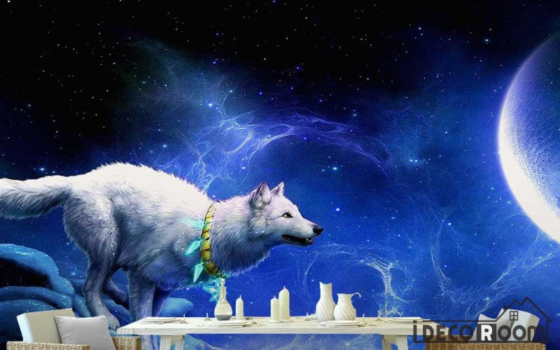 Graphic Design Blue Space 3D White Wolf Moon Living Room