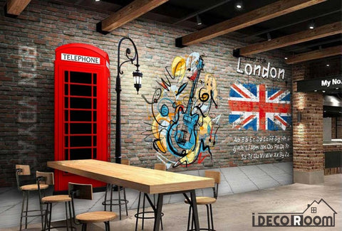 Image of Red Brick Wall 3D Red Cabin Phone London Flag Restaurant Art Wall Murals Wallpaper Decals Prints Decor IDCWP-JB-001104