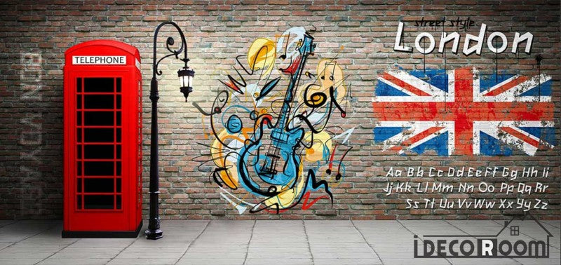 Red Brick Wall 3D Red Cabin Phone London Flag Restaurant Art Wall Murals Wallpaper Decals Prints Decor IDCWP-JB-001104