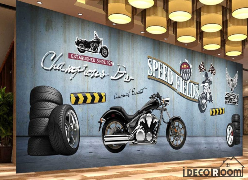 Metal Wall 3D Motorbike Wheels Restaurant Art Wall Murals Wallpaper