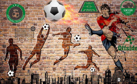 Image of Red Brick Wall 3D Silhouette Football Players Living Room Art Wall Murals Wallpaper Decals Prints Decor IDCWP-JB-001107