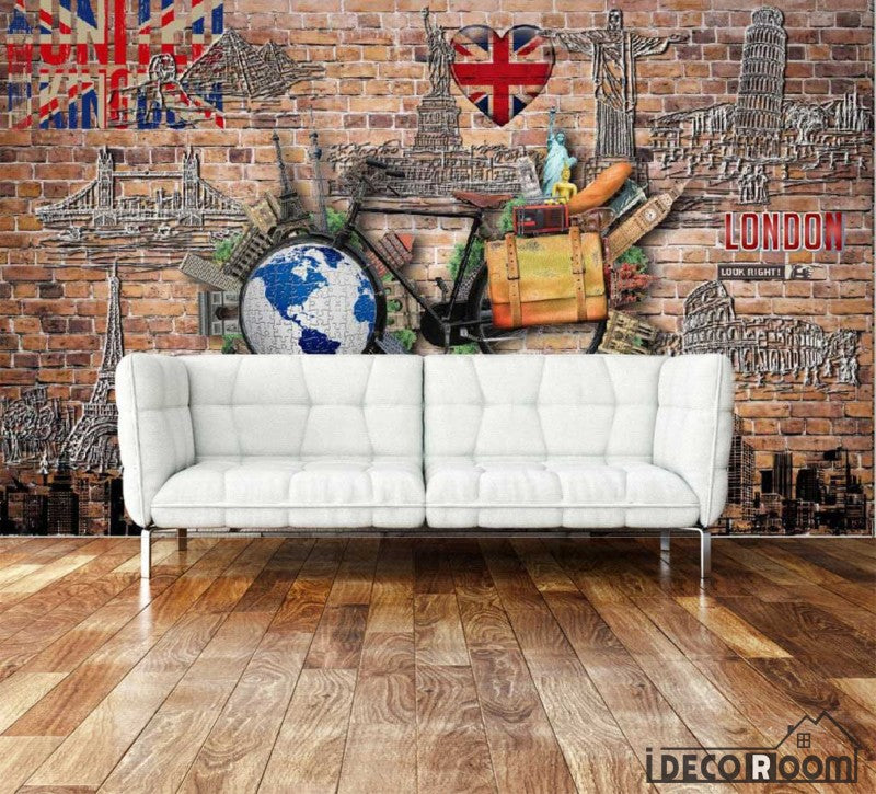 Red Brick Wall Graphic Design London Paris Rome New York Pisa City Drawings Living Room Art Wall Murals Wallpaper Decals Prints Decor IDCWP-JB-001108