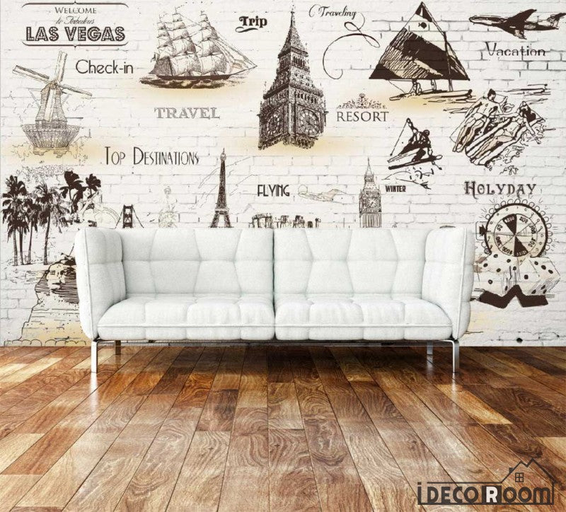 White Brick Wall Sepia Drawings Travel Holiday Boats Cities Living Room Art Wall Murals Wallpaper Decals Prints Decor IDCWP-JB-001110