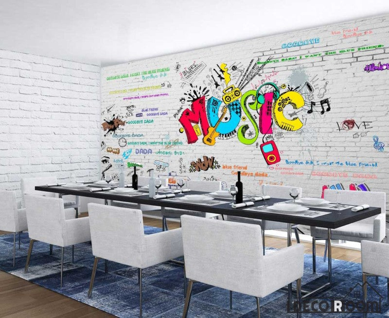 White Brick Wall 3D Colorful Music Letters Restaurant Living Room Art Wall Murals Wallpaper Decals Prints Decor IDCWP-JB-001115