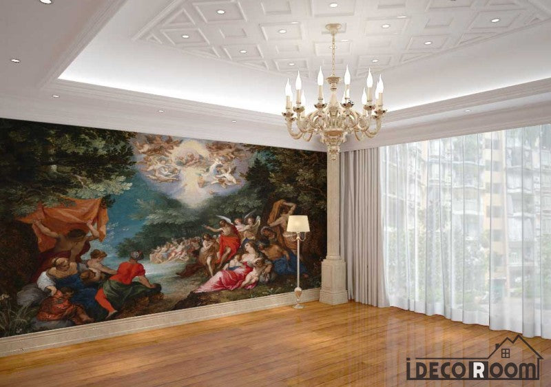 Baptism Of Christ Sylvan Landscape Oil Painting Living Room Art Wall Murals Wallpaper Decals Prints Decor IDCWP-JB-001116
